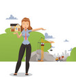 woman presenting building project female realtor vector image