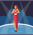 woman singing sing with microphone standing on vector image vector image