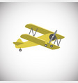 yellow biplane aircraft on white background vector image