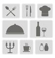 monochrome icons with restaurant symbols vector image