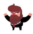happy bearded boss in suit vector image