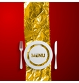a plate and cutlery on the red and golden vector image