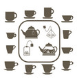a set of 12 cups of various shapes two teapots vector image