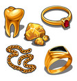 a set of jewelry and dentistry objects made of vector image vector image