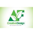 Af green leaf letter design logo eco bio leaf