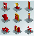 algebra color gradient isometric icons vector image vector image