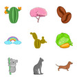 animal environment icons set cartoon style vector image