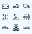 automobile icons line style set with steering vector image vector image