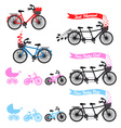 Baby shower with tandem bicycle set vector image vector image