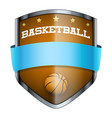 basketball shield badge vector image vector image