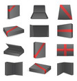 black package paper boxes front top isometric open vector image vector image