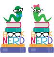 book worm nerd graphic set vector image