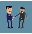 business partners handshaking knife vector image vector image