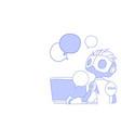 chat bot using laptop computer robot virtual vector image vector image