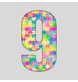 Color Puzzle Number - 9 Nine Gigsaw Piece vector image