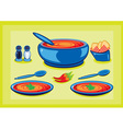 cooking pot and plates vector image
