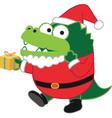 crocodile Santa vector image vector image