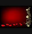 dark red background with a silhouette of hearts vector image vector image