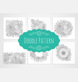 doodle patterns black and white set vector image