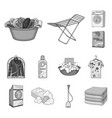 dry cleaning equipment monochrome icons in set vector image vector image
