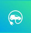 electric car with plug ev vector image vector image