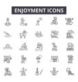 enjoyment line icons for web and mobile design vector image vector image