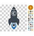 euro rocket launch icon with bonus vector image vector image