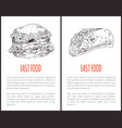 fastfood poster taco set vector image