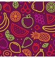 Fruits seamless pattern on purple vector image vector image