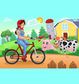 girl biking in a farm vector image vector image
