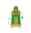 Green Beach Fisherman Cabin vector image vector image