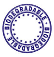 grunge textured biodegradable round stamp seal vector image