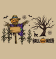 halloween colorful vintage composition vector image