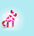 hearts and gift box vector image vector image