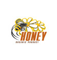 honey bee with flower icon for organic food design vector image vector image