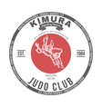Judo club t-shirt graphics label vector image