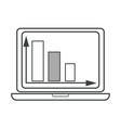 laptop with monitor showing chart with arrows vector image