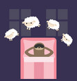 lazy sloth in sleeping mask jumping sheeps cant vector image vector image