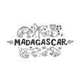 madagscar hand written word with doodle animals