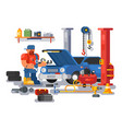 mechanic worker repairs car in garage vector image vector image