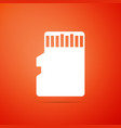 micro sd memory card icon on orange background vector image vector image