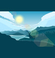 mountains landscape with deer on hills and lake vector image vector image