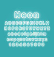 neon city color blue font english alphabet sign vector image vector image