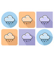 outlined icon of rain with snow with parallel and vector image vector image