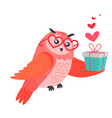owl bird in heart shape glasses holds present box vector image vector image