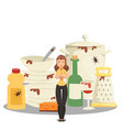 pile dirty dishes angry woman cartoon vector image vector image