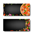 pizza banner with black background vector image vector image