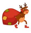 polar deer carries huge bag with christmas vector image vector image