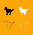puppy set black and white icon vector image vector image