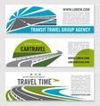 road travel company banners set vector image vector image